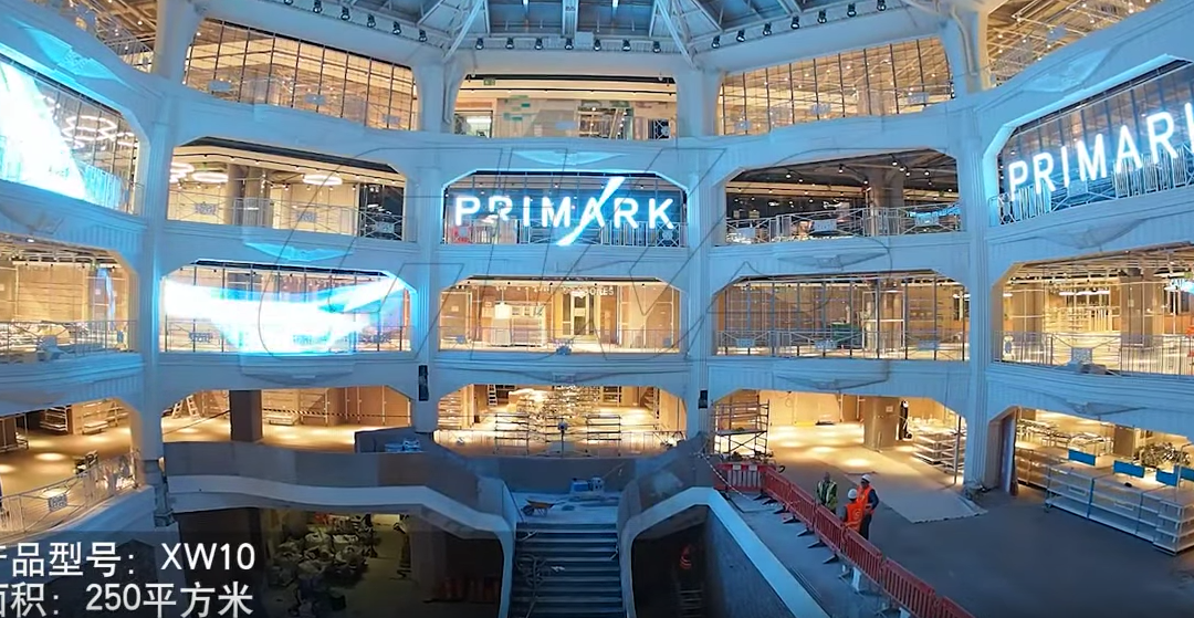 Transparent LED Displays installed in Primark's New Flags store in Madrid, Spain.